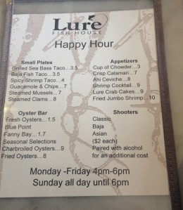 Ventura Happy Hour Lure Menu