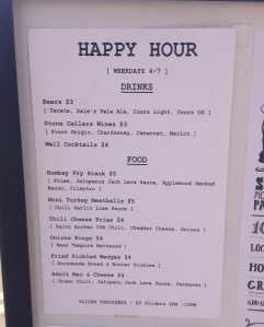 Bombays Happy Hour