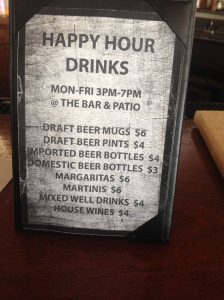 Rumb Line Happy Hour Drink Menu