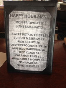 Rhumb Line Happy Hour Menu