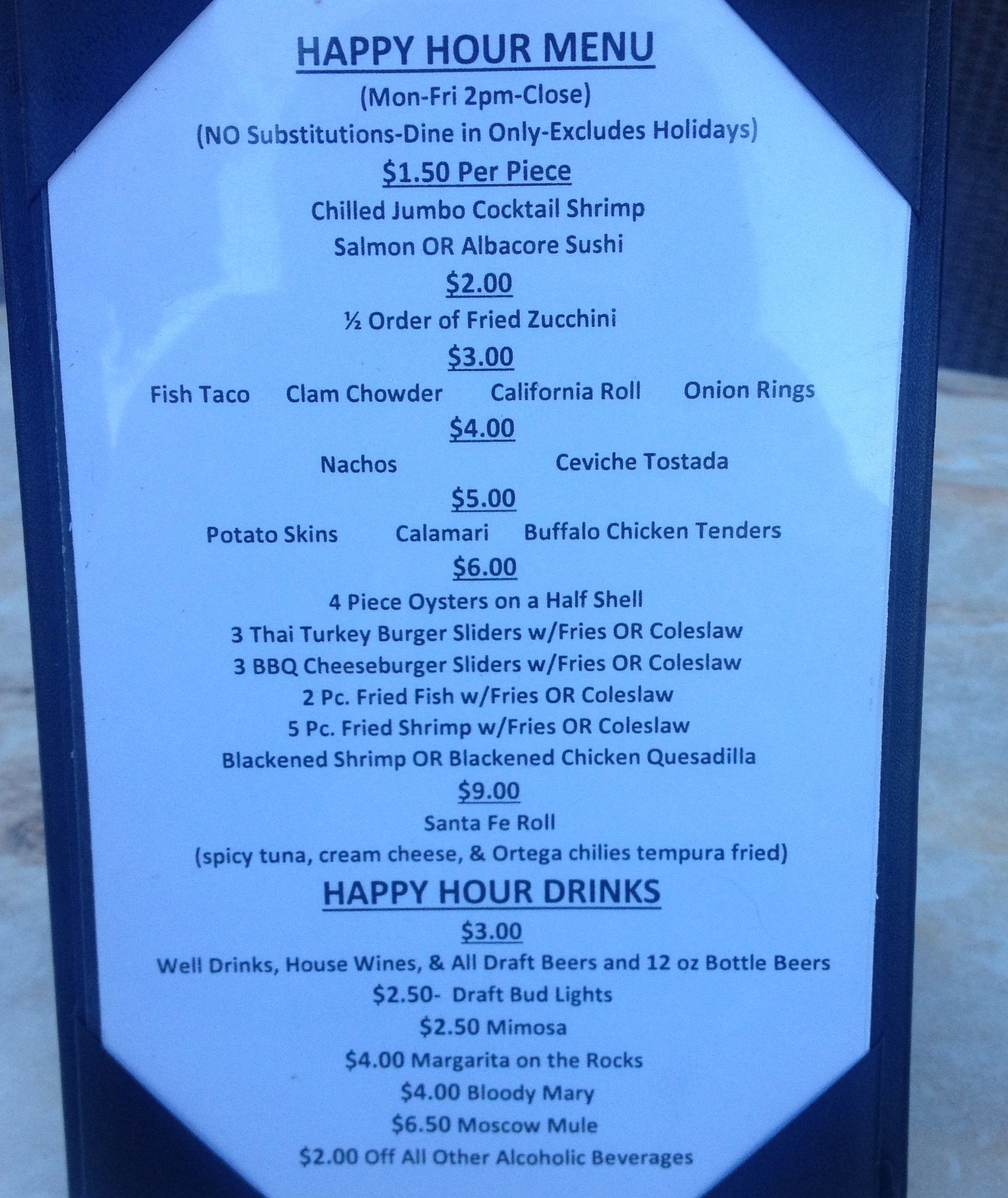 Sea Fresh Happy Hour Menu
