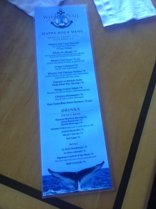 Whale's Tail Happy Hour Menu